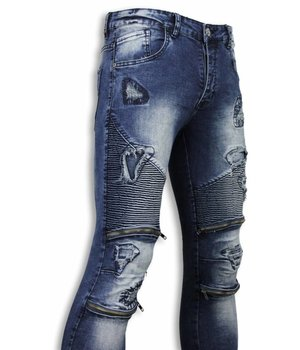 Urban Rags Exclusive Biker Jeans - Slim Fit Damaged Biker Jeans With Zippers - Blue