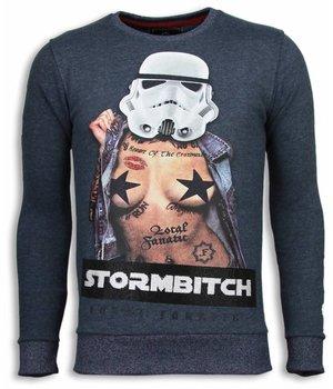 Local Fanatic Stormbitch - Rhinestone Sweater - Blue