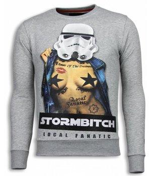Local Fanatic Stormbitch - Rhinestone Sweater - Light Grey