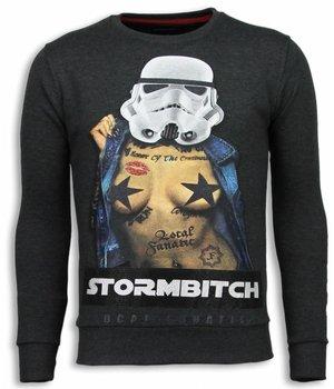 Local Fanatic Stormbitch - Rhinestone Sweater - Antracite
