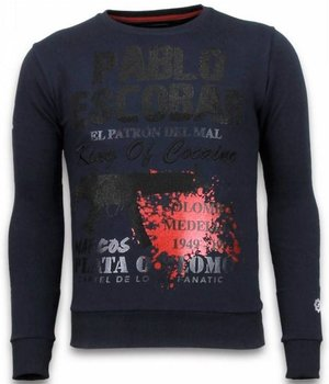 Local Fanatic Pablo Escobar - Rhinestone Sweater - Blue