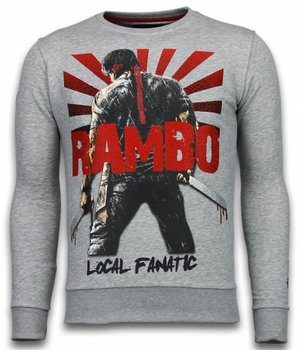 Local Fanatic Rambo - Rhinestone Sweater - Light Grey