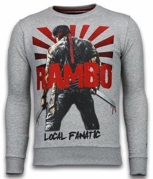 Local Fanatic Rambo - Rhinestone Sweater - Light Grey