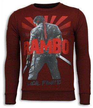 Local Fanatic Rambo - Rhinestone Sweater - Burgundy