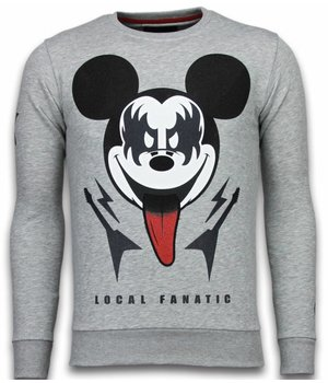 Local Fanatic Kiss My Mickey - Rhinestone Sweater - Grey