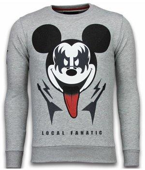 Local Fanatic Kiss My Mickey - Rhinestone Sweater - Grey