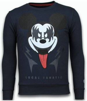 Local Fanatic Kiss My Mickey - Rhinestone Sweater - Navy