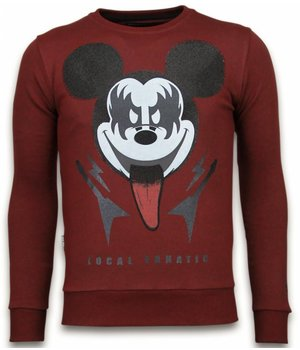 Local Fanatic Kiss My Mickey - Rhinestone Sweater - Burgundy