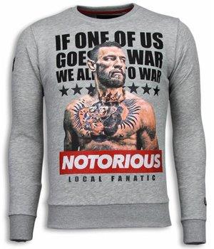 Local Fanatic Conor McGregor - Rhinestone Sweater - Grey