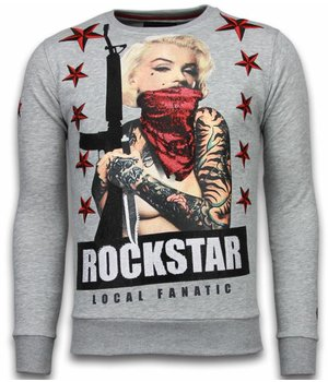 Local Fanatic Marilyn Rockstar - Rhinestone Sweater - Grey