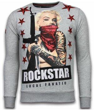 Local Fanatic Marilyn Rockstar - Rhinestone Sweater - Grey