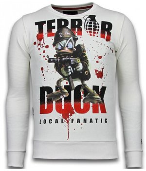 Local Fanatic Terror Duck - Rhinestone Sweater - White