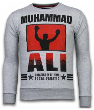 Local Fanatic Muhammad Ali - Rhinestone Sweater - Grey