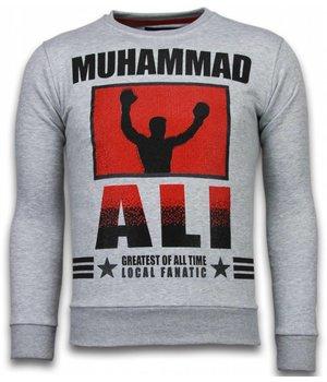Local Fanatic Muhammad Ali - Rhinestone Sweater - Grey