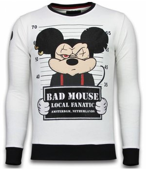 Local Fanatic Bad Mouse - Rhinestone Sweater - White