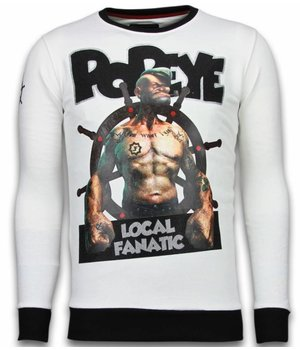 Local Fanatic Popeye - Rhinestone Sweater - White