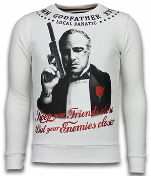 Local Fanatic Godfather - Rhinestone Sweater - White