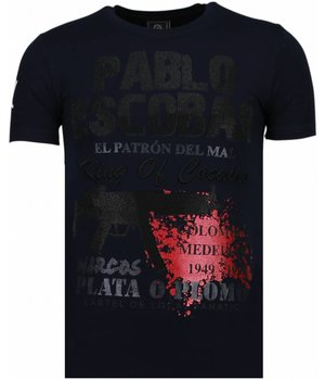 Local Fanatic Pablo Escobar Narcos - Rhinestone T-shirt - Blue