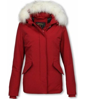 Matogla Fur Collar Coat - Women's Winter Coat Long - Large Fur Collar - Red