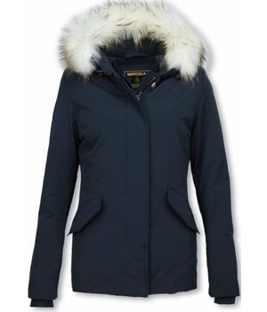 Matogla Fur Collar Coat - Women's Winter Coat Long - Large Fur Collar - Blue