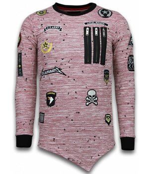 Local Fanatic Longfit Asymmetric Embroidery - Sweater Patches - US Army - Pink