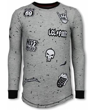 Local Fanatic Longfit Embroidery - Sweater Patches - Rockstar - Grey