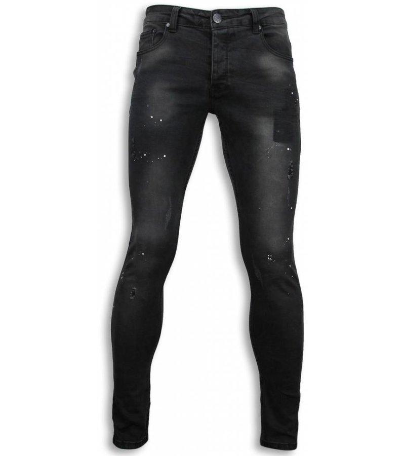 New Stone Exclusive Jeans - Slim Fit Paint Drops Jeans - Black