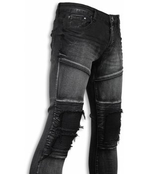 New Stone Exclusive Biker Jeans - Slim Fit Biker Knees Jeans - Grey