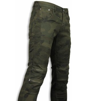 Urban Rags Exclusive Biker Jeans - Slim Fit Zipped Biker Jeans - Camouflage