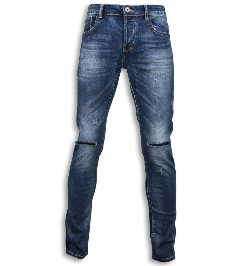 Black Ace Basic Jeans - Damaged Knee Regular Fit - Blue