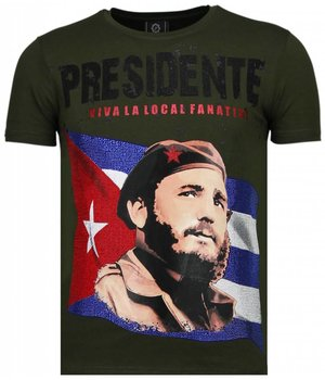 Local Fanatic Presidente - Rhinestone T-shirt - Green