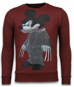 Local Fanatic Bad Mouse - Rhinestone Sweater - Burgundy