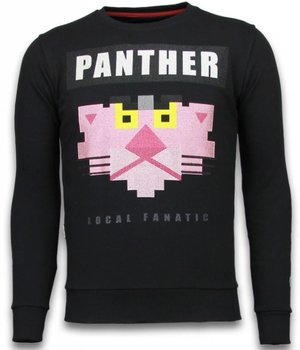 Local Fanatic Panther - Rhinestone Sweater - Black