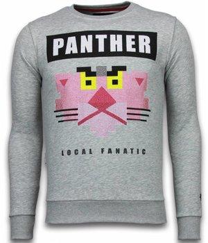Local Fanatic Panther - Rhinestone Sweater - Grey