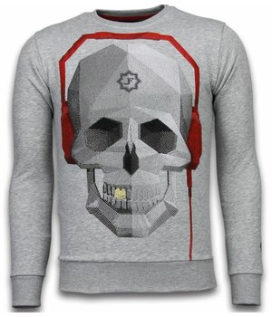 Local Fanatic Skull Beat - Rhinestone Sweater - Grey
