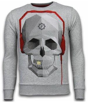Local Fanatic Skull Beat - Rhinestone Sweater - Grey