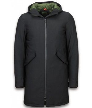 Warren Webber Winter Coats - Men Winter Jacket Long - Parka Basic - Black