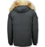 Beluomo Fur Collar Coat - Men Winter Coat Long - Expedition Parka - Black