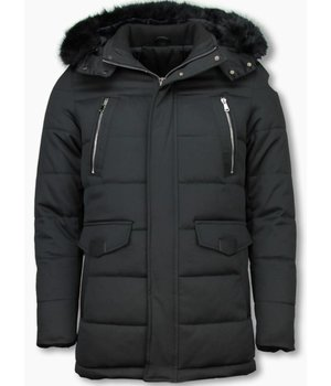 Enos Winter Coats - Men Winter Jacket Long - Faux Fur - Exclusive Zipper Parka - Black