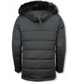Enos Winter Coats - Men Winter Jacket Long - Faux Fur - Exclusive Zipper Parka - Black