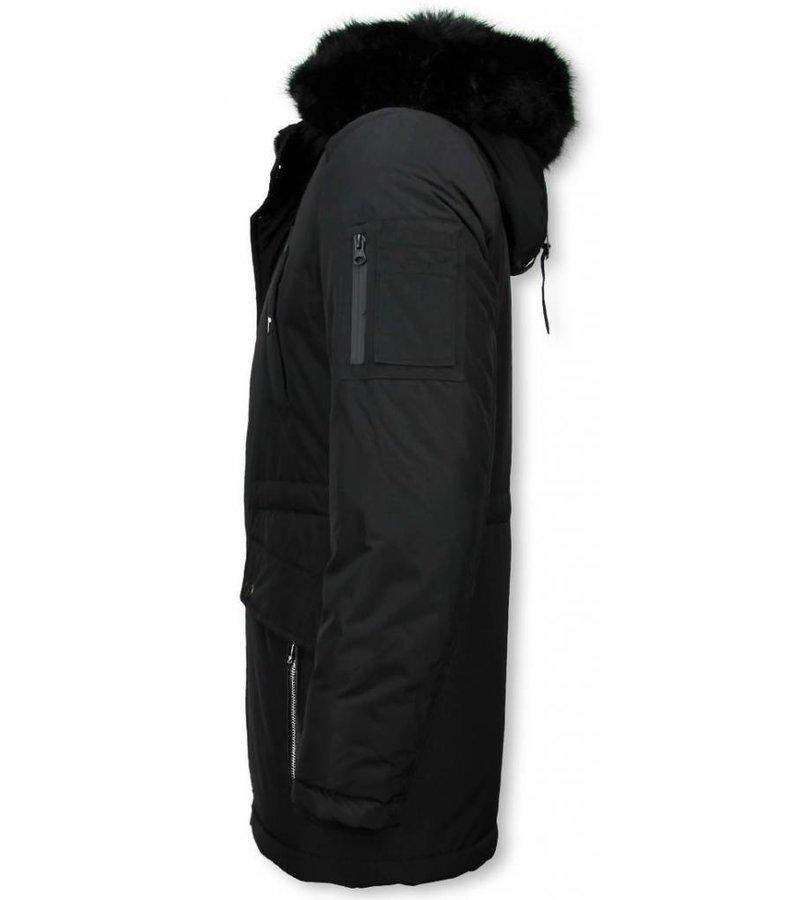 Enos Winter Coats - Men Winter Jacket Long - Faux Fur - Exclusive Button Parka - Black