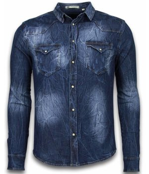 Enos Denim Shirts - Slim Fit Long Sleeve Shirt - Vintage Washed - Blue