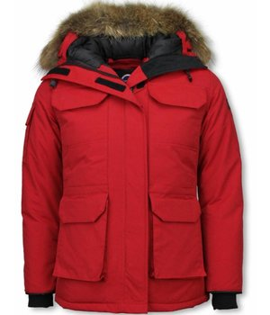 Matogla Fur Collar Coat - Women's Winter Coat Half Long - Expedition Parka - Red