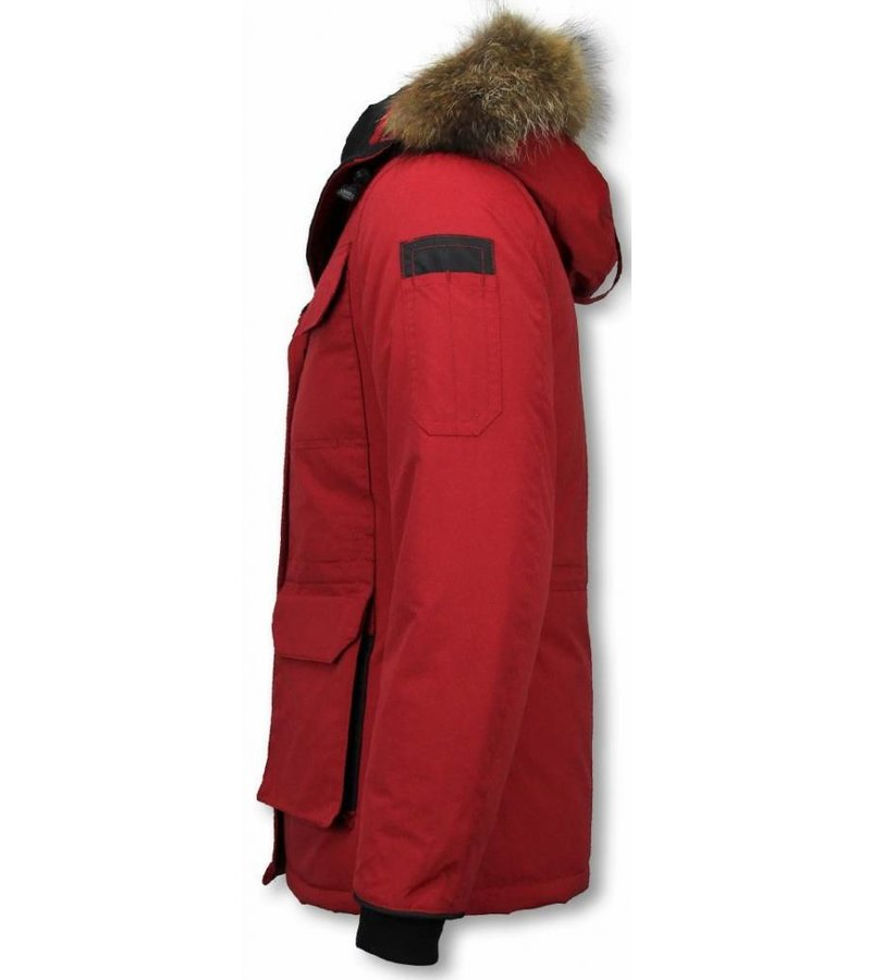 Matogla Fur Collar Coat - Women's Winter Coat Half Long - Expedition Parka - Red