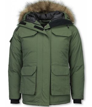Matogla Fur Collar Coat - Women's Winter Coat Half Long - Expedition Parka - Green