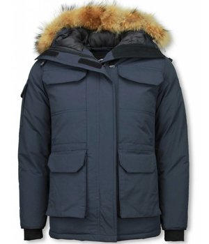 Matogla Fur Collar Coat - Women's Winter Coat Half Long - Expedition Parka - Blue