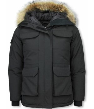 Matogla Fur Collar Coat - Women's Winter Coat Half Long - Expedition Parka - Black