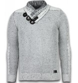 Black Number Knitted Men's Pullover - Exclusive Scarf Collar Buttons - Grey
