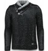 Black Number Knitted Men's Pullover - Exclusive Scarf Collar Buttons - Black