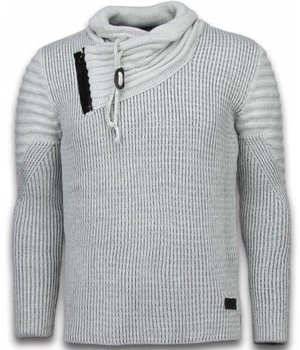 Black Number Knitted Men's Pullover - Exclusive Shawl Collar Zipper - Grey